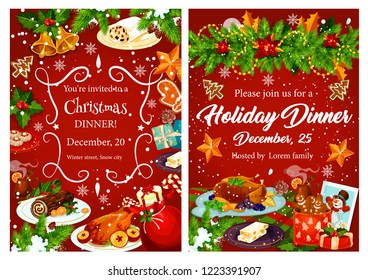 Christmas holiday festive dinner invitation card. Xmas turkey, cake and mulled wine, cookie, turron dessert and gingerbread banner, decorated by Christmas garland with gift, holly, bell and snowflake