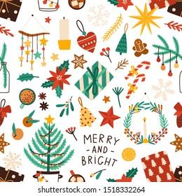 Christmas holiday flat vector seamless pattern. Winter season symbols texture. Traditional xmas attributes decorative backdrop. Christmas tree toys, gingerbread cookies, presents illustration.