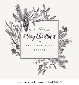 Christmas holiday frame  with pine branches, cones, mistletoe, fern. Black and white. Vector design elements.