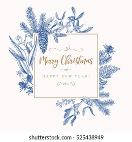Christmas holiday frame  with pine branches, mistletoe, fern. Engraved card. Vector design elements isolated on white background. Blue.