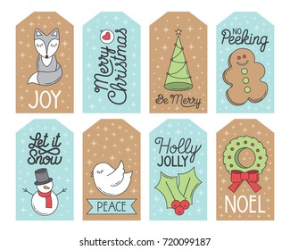 Christmas Holiday Gift Tags, Set of 8 printable hand drawn holiday gift tags