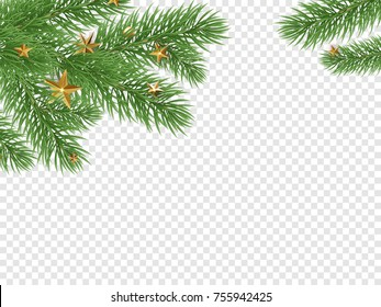 Christmas holiday greeting card background template of golden star and ball decorations on Christmas tree and holly wreath. Vector New Year golden confetti garland on transparent luxury black design