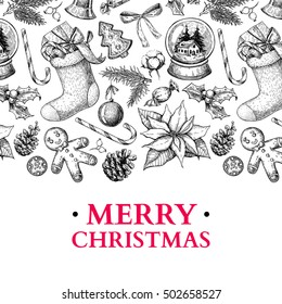 Christmas holiday greeting card. Vector hand drawn illustration with holly, mistletoe, poinsettia, pine cone, sock, toy, ball, candy, ginger man . Engraved xmas square poster or banner