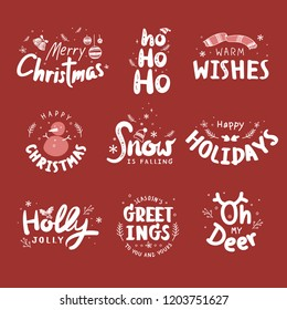Christmas holiday greeting set typography style