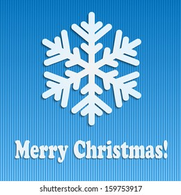 Christmas Holiday Greetings.Christmas background.snowflakes from white paper on blue  background.vector