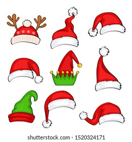 Christmas holiday hat. Funny elf, snow reindeer and Santa Claus hats wearing for noel sign. Elves fur cap clothes, decoration xmas costume cartoon isolated vector icon set