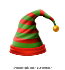 Christmas holiday hat.3D, funky red and green stripped cartoon christmas vector elf hat isolated vector, kids elf hat icon or label