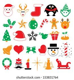 Christmas holiday icons and symbols