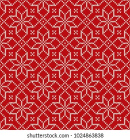 Christmas Holiday Knitted Pattern with Snowflakes. Knitting Sweater Design. Seamless Vector Background