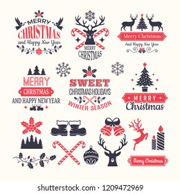 Christmas holiday labels. Vintage winter badges and logos with various snow new year vector elements and place for your text. Merry xmas logo, badge celebration, greeting holiday badge illustration