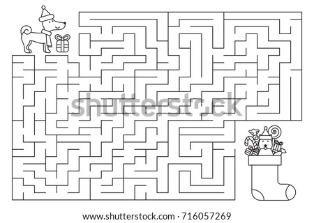 christmas holiday maze for kids new year symbol of dog coloring page vector