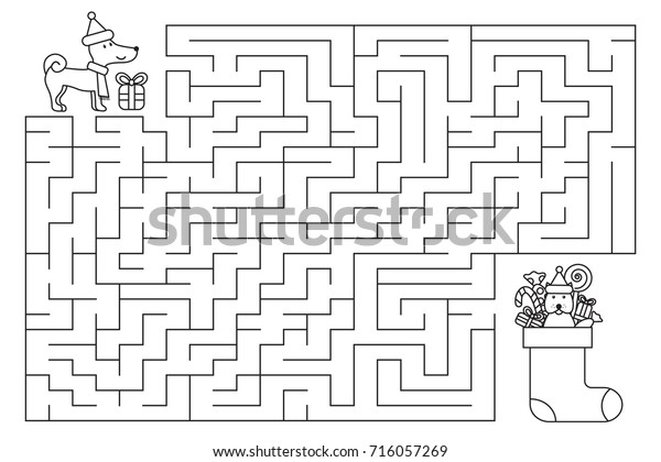 Christmas Holiday Maze Kids New Year Stock Vector (Royalty ...