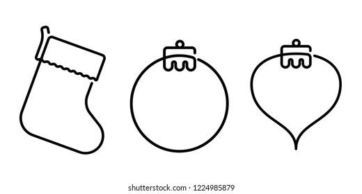Christmas Holiday Ornaments Continuous Line Vector Graphics