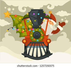 Christmas holiday preparation Santa Claus with evergreen tree riding old locomotive vector winter character driving steam train holding decorated fir spruce snowfall and cold weather outside.