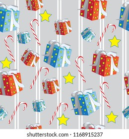 Christmas holiday presents candy canes red blue yellow stars stripes seamless pattern
