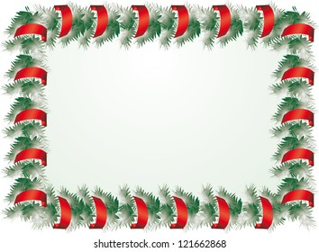 Christmas holiday rectangular frame made ??of fir branches and festive ribbons