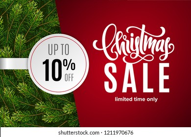 Christmas holiday sale 10% off with paper sticker on red background with fir tree branches. Limited time only. Template for a banner, shopping, discount. Vector illustration for your design
