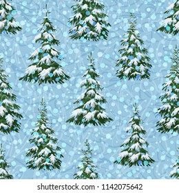 Christmas Holiday Seamless Background, Winter Landscape, Green Fir Trees with White Snow. Vector