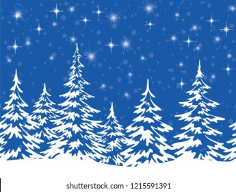 Christmas Holiday Seamless Horizontal Background, Winter Landscape, Fir Trees with Snow, White Silhouettes against the Blue Night Sky with Stars. Vector