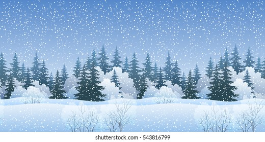 Christmas Holiday Seamless Horizontal Background, Winter Landscape, Fir Trees Silhouettes, Bushes and White Snow. Vector