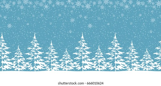 Christmas Holiday Seamless Horizontal Background, Winter Woodland Landscape with Spruce Fir Trees Pictograms and White Snowflakes. Vector