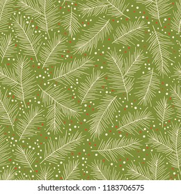 Christmas Holiday Seamless Pattern with Pine Branches. Xmas winter poster collection