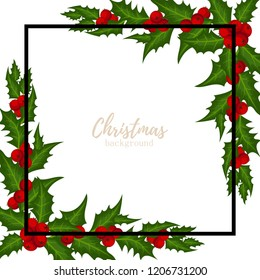 Christmas holiday season background with Holly berries branch. Xmas greeting card.