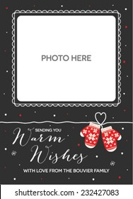 Christmas Holiday Season Greetings Card with Place for a Photo