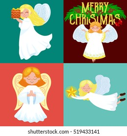christmas holiday set of flying angel with wings and gifts box or stars, with moon like symbol in Christian religion or new year vector illustration