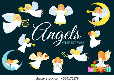 christmas holiday set of flying angel with wings and gifts box or stars, moon like symbol in Christian religion new year vector illustration