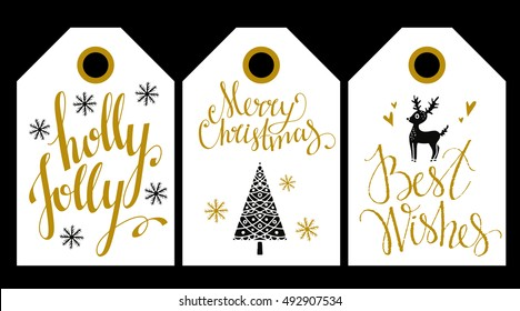 Christmas Holiday, tag, label. Merry Christmas, Holly Jolly, Best Wishes hand written text, lettering. Snowflakes, pine tree, reindeer. hearts. Hand drawn isolated. Scrapbooking design elements set