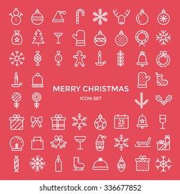 Christmas holiday thin line flat design icons set