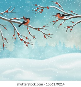 Christmas holiday winter landscape. Snow covered hills with with tree branches and birds