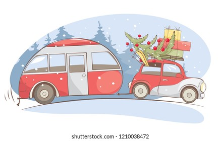 Christmas holiday, Winter vacations. Funny retro car with camping truck goes on a winter trip, vector illustration