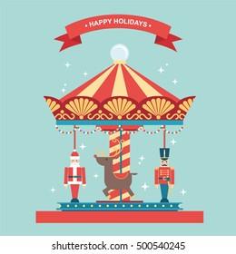 Christmas holidays carousel flat vector illustration/greetings card