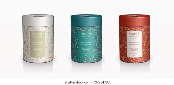 Christmas holidays celebration festive season Cylinder container tea coffee tin packaging design 3D illustration cookie jar