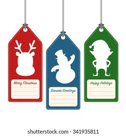 Christmas and holidays hang tag label, vector illustration