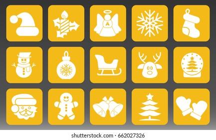 Christmas Holidays Icons Set Vector Illustration