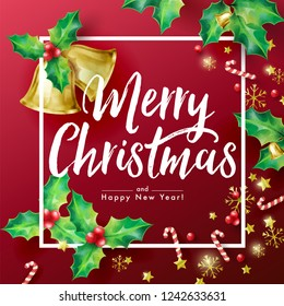 Christmas Holiday's Red Background with Season Wishes and Border Decorated with Holly branches, Stars, Candy Canes, snowflakes and Bells.