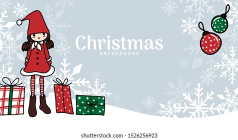 Christmas holidays season background of cute girl in Santa costume with gift boxes and Christmas balls on snow hill with snowflakes and your copy space. Vector illustration in doodle style.