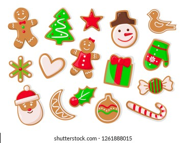 Christmas holidays symbolic isolated icons of gingerbread cookies vector. Snowman and pine tree evergreen spruce, heart and candy lollipop stick mistletoe