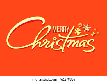 Christmas holidays typography in retro style. Merry Christmas handwritten lettering. Shining text with snowflakes isolated on red orange background.  Vector illustration.