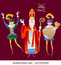 Christmas in Holland. Sinterklaas and his helpers deliver gifts. Vector illustration.