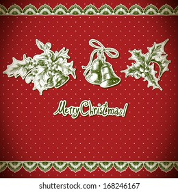 Christmas Holly and bell. Vintage background