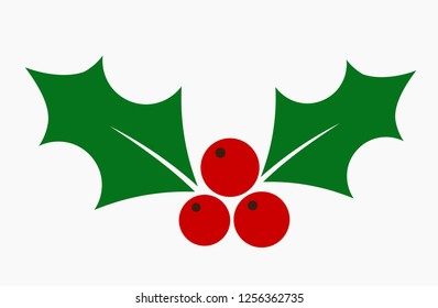 Christmas holly berries mistletoe flat icon. Vector illustration.