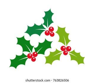 Christmas holly berries mistletoe icons illustration