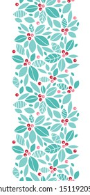 Christmas holly berries vertical seamless pattern background