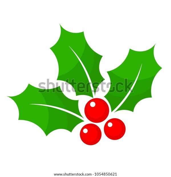 Christmas Holly Clipart Free.Christmas Holly Berry Flat Icon Cartoon Stock Vector