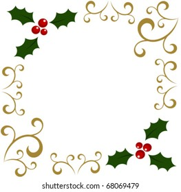 Christmas holly berry frame. Vector background