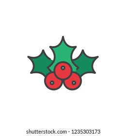 Christmas holly berry icon in flat style isolated on white background. For your design, logo. Vector illustration.